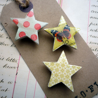 Pretty Set of Star Magnets with Butterfly Stamp and Dots