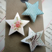 Pretty Set of Star Magnets with Flowers, Birds and Dots