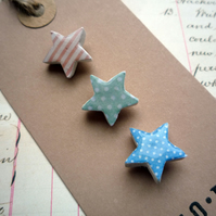 Pretty Mini Star Collage Brooch Pin Sets, Pink, Green and Blue