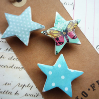 Pretty Set of Star Magnets with Turquoise Dots and Butterfly
