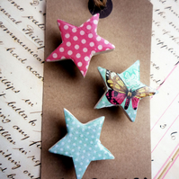 Pretty Set of Turquoise and Pink Star Magnets with Dots and Butterfly
