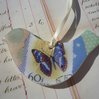 Pretty  Collage Hanging Bird with Blue Butterfly and Green Spots