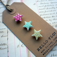 Pretty Mini Polkadot Star Brooch Pins - Set of three, Pink, aqua and lime green