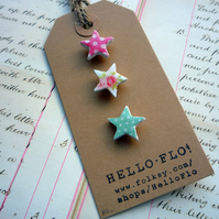 Pretty Mini Star Polkadot and Floral Brooch Pins, Set of three.