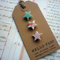 Pretty Mini Star Brooch Pins, Pale Pink, Aqua and Floral - Set of three