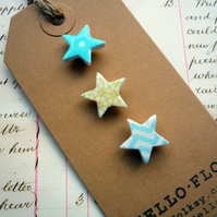 Pretty Mini Turquoise and Lime Green Patterned Star Brooch Pins -Set of three