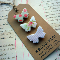 Pretty Patterned Butterfly Brooch Pins with Dots and Stripes - Pink
