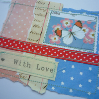 With Love' Handmade Paper and Stitch Card with Butterfly Vintage Stamp