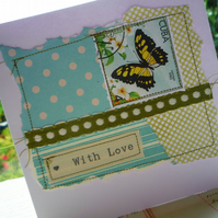 'With Love' Handmade Paper and Stitch Card with Butterfly Vintage Stamp