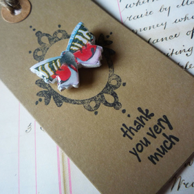 'Thank you' Red, Black and Blue Butterfly Vintage Stamp Brooch Pin