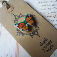 'Thank you' Red, Green and Orange Butterfly Vintage Stamp Brooch Pin