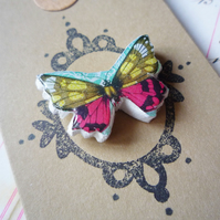 'Happy Birthday' Aqua, Dark Pink and Yellow Vintage Stamp Butterfly Brooch