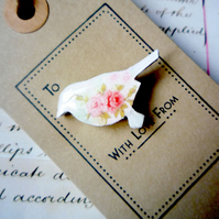 'With Love From'  Floral Bird Brooch Pin