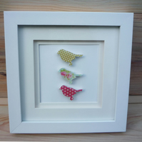 Small Square Framed Birds with Floral and Dotty Patterns