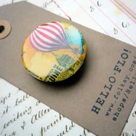 Handmade Vintage Hot Air Balloon Fridge Magnet