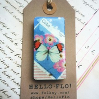 Handmade Vintage Stamp Butterfly Magnet with Stars