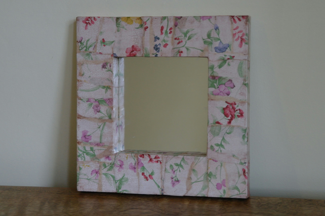 Shabby Chic Mirror Frame Country Flowers