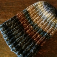 Ribbed beanie in high quality self-striping wool