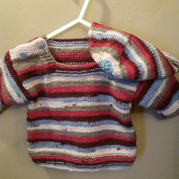 Multi-coloured jumper and hat set , 6 month old size