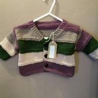 Very cute and cosy striped baby jacket in machine washable merino aran wool