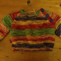 "Round neck, raglan sleeve, baby jumper, size 19"" chest"