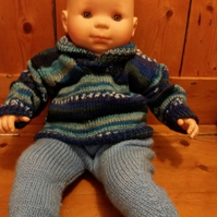 "Blue shawl collar baby jumper, 19"" chest, 100% merino wool"