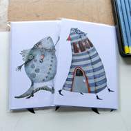 Greeting Cards Singing Fish and Stripy House Cards 4x6
