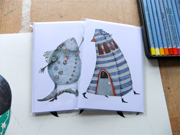 greeting cards singing fish and stripy house ca  folksy
