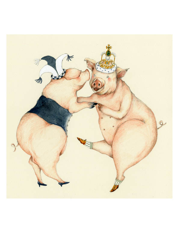 Pig Print Happy Pigs Dancing a Jig 8x10