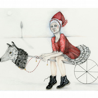 Print Red Riding Hood with Wolf Hobby Horse 8x11