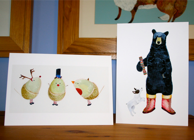 Christmas cards, Pack of two, Black Bear with Dog and Three  Christmas Acorns