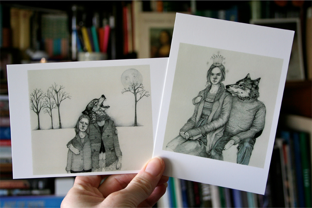 Postcards Pair of wolf postcard mini prints 4x6ins