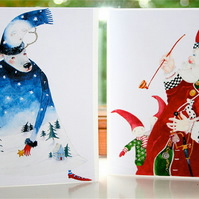 Father Christmas and winter Deer Christmas Cards