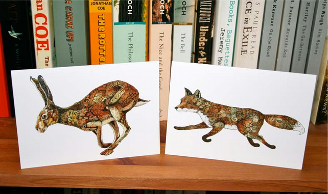 Hare and Fox greeting cards 4x6