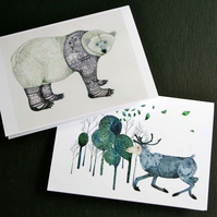 Polar Bear and Reindeer Greeting cards 4x6
