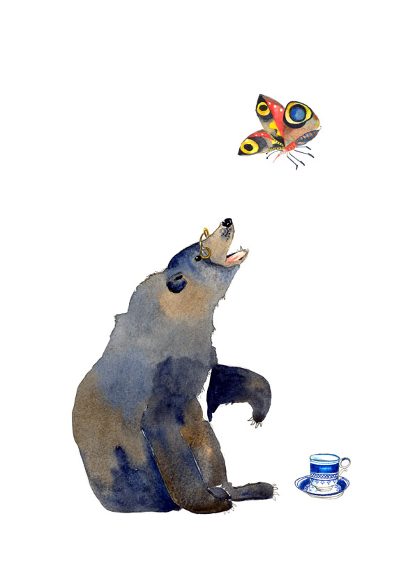 Bear and Butterfly illustration Giclee art print A4