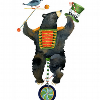 Bear on a Unicycle illustration art giclee print A4