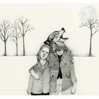 Pencil illustration drawing Werewolf Boyfriend Giclee print A4