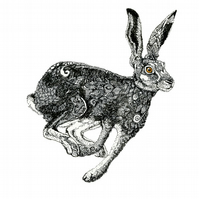 Hare Print A3 Black and white Hare art giclee print