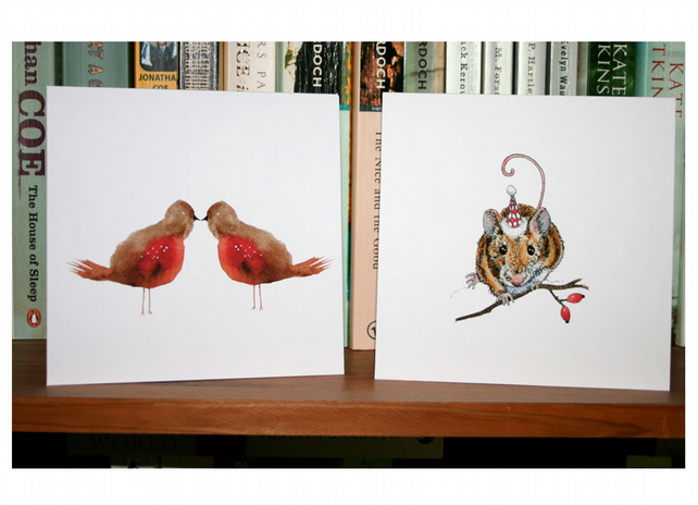 "Christmas cards pack of two christmas cards featuring robins and a mouse 5""x5"""