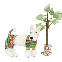 Dog Giclee Print Dog in knitwear A3 animal art print