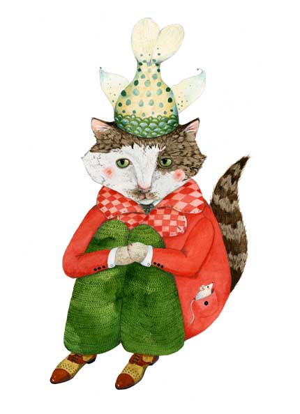 Cat print Cat in a Fishtail Hat A4 Giclee print