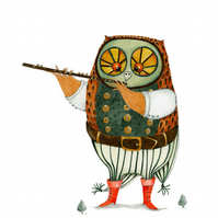 Owl illustration Giclee print A4 Owl playing the flute
