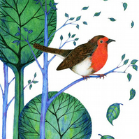 Robin print Bird Illustration Giclee A4 print