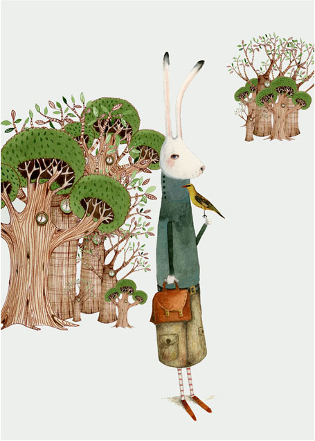 Bunny and Bird A3 Illustration Giclee print