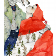 Wolf with Red Riding Hood Giclee illustration print A4
