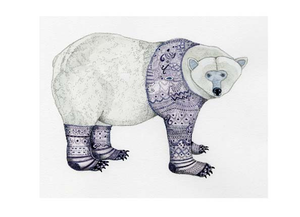 Polar Bear in Purple Knitwear A4 Giclee print