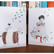 Greeting cards Pair of cards featuring Dog and Cow and Mimi, pup and Butterflies