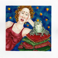 Watercolour Frog Prince on Cushions Original painting approx 9x9''