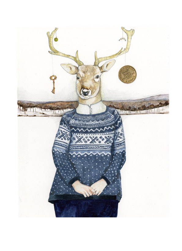 Winter Deer print A4 giclee print Deer in Jumper